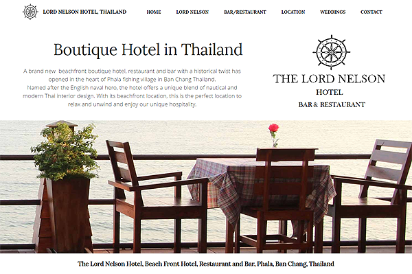 Website for Lord Nelson Hotel, Thailand